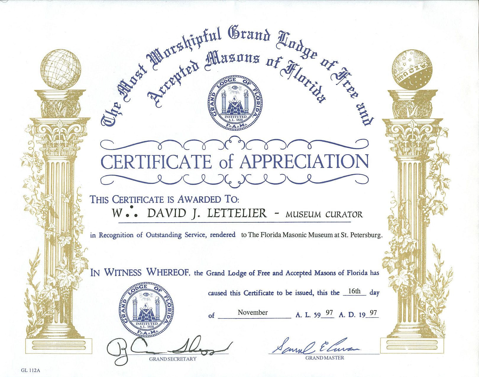 By worshipful brother david j lettelier for Masonic certificate template