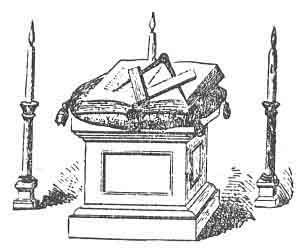 COMPASSES, PLACED IN A LODGE OF ENTERED APPRENTICES, ''BOTH POINTS COVERED BY THE SQUARE.'' (See Note C, appendix.)
