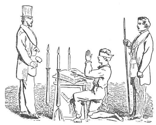 FIG. 10. CANDIDATE TAKING THE OATH OF A FELLOW CRAFT.
