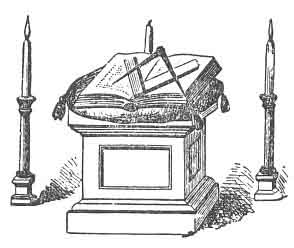 COMPASSES, PLACED IN A LODGE OF MASTER MASONS,<br> ''BOTH POINTS ELEVATED ABOVE THE SQUARE,'' (See Note B, Appendix.)