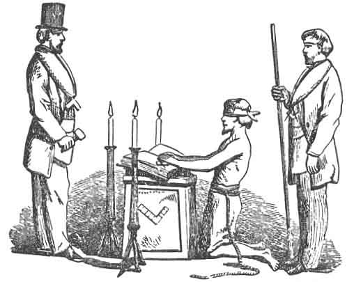 FIG. 15. CANDIDATE TAKING THE OATH OF A MASTER MASON.