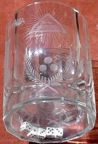 European Masonic Glass With Dice