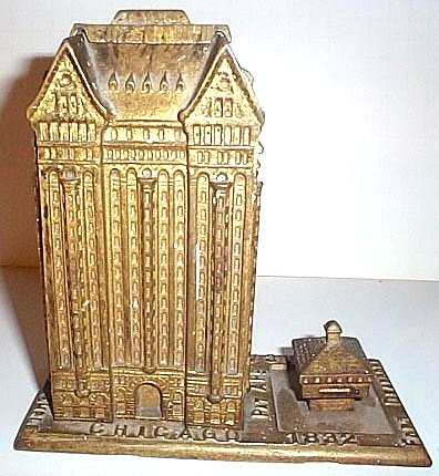 Chicago Masonic Temple Metal Bank Dated 1892