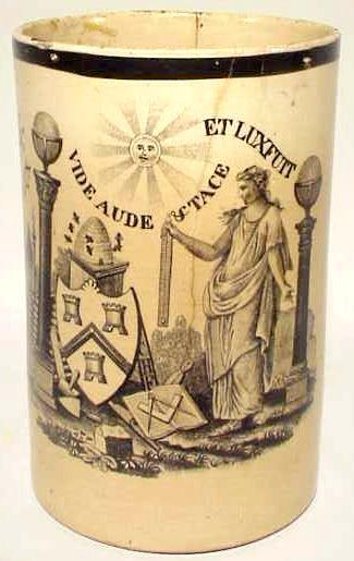 Early Masonic Liverpool Transfer Ware Mug C 1800