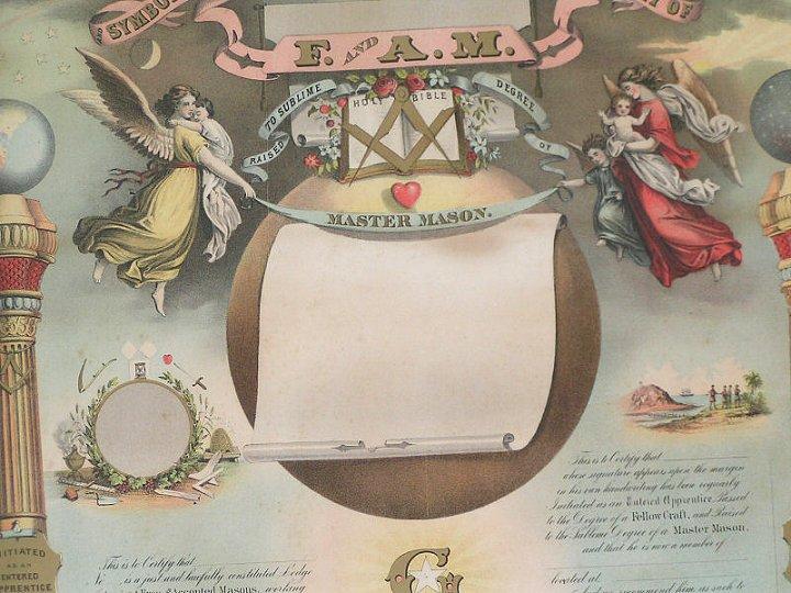 Masonic Membership Certificate By Stobridge Amp Co Dtd 1867