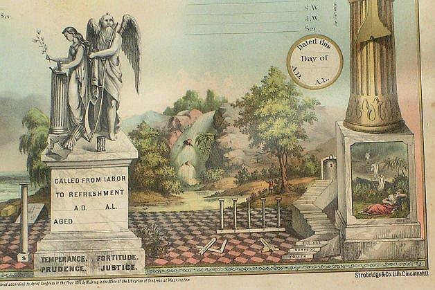 Masonic Membership Certificate by Stobridge & Co. dtd 1867